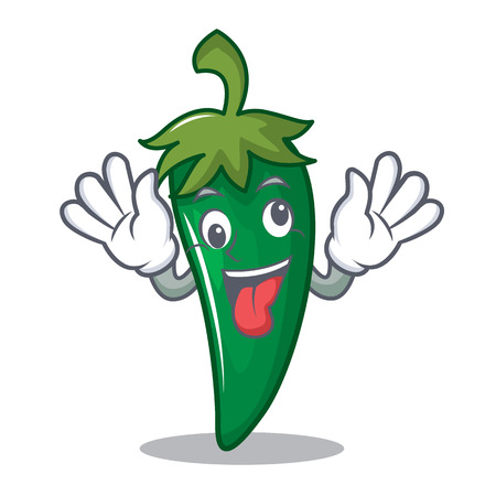 Crazy green chili character cartoon