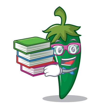 Student with book green chili character cartoon