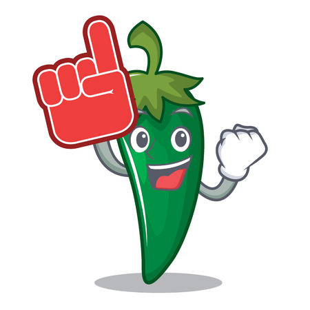 Foam finger green chili character cartoon