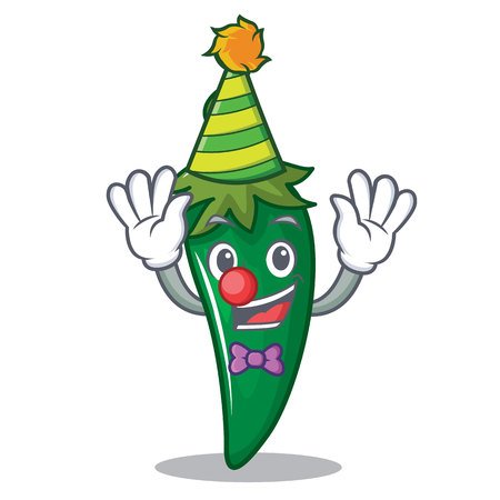 Clown green chili character cartoon