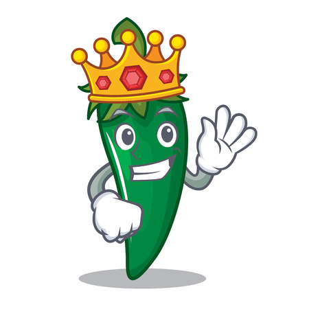 King green chili character cartoon Illustration