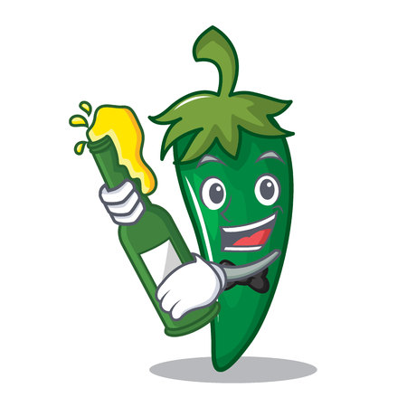 With beer green chili character cartoon