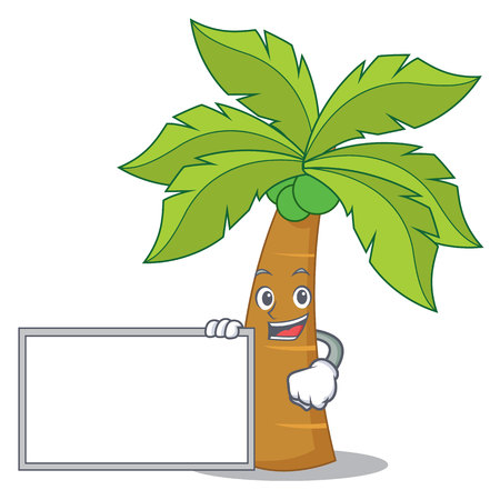 With board palm tree character cartoon