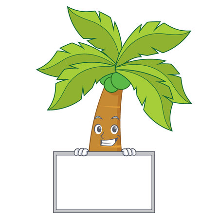 Grinning with board palm tree character cartoon Illustration