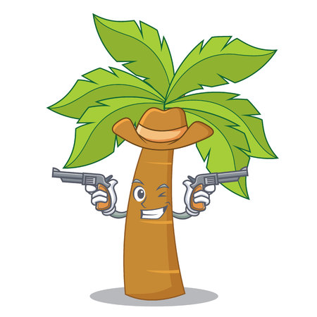 Cowboy palm tree character cartoon