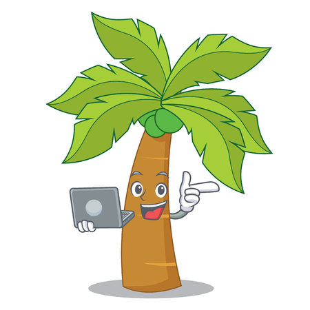With laptop palm tree character cartoon vector illustration