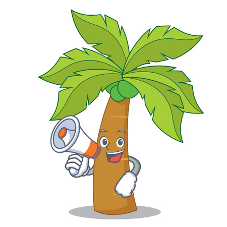 With megaphone palm tree character cartoon vector illustration Illustration