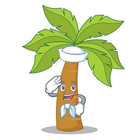 Sailor palm tree character cartoon Vector Illustration