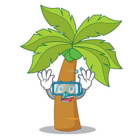 Diving palm tree character cartoon vector illustration. Çizim