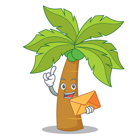 With envelope palm tree character cartoon