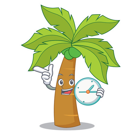 With clock palm tree character cartoon