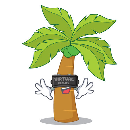 With virtual reality palm tree character cartoon Illustration