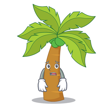 Afraid palm tree character cartoon