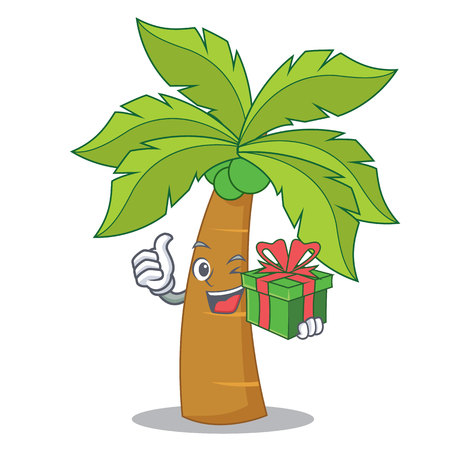 With gift palm tree character cartoon