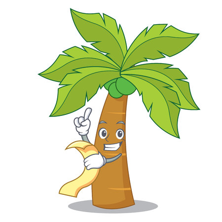 With menu palm tree character cartoon illustration. Illustration