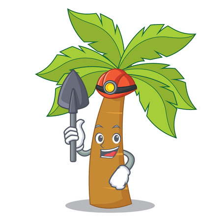 Miner palm tree character cartoon illustration.