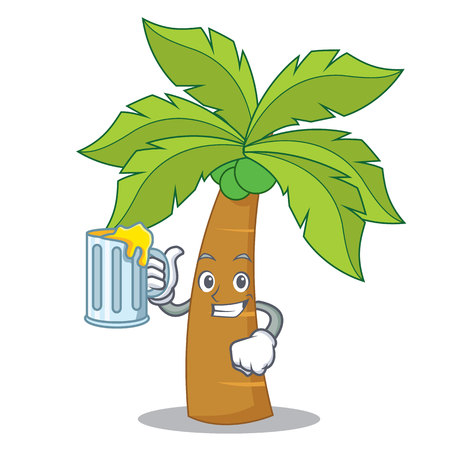 With juice palm tree character cartoon illustration.
