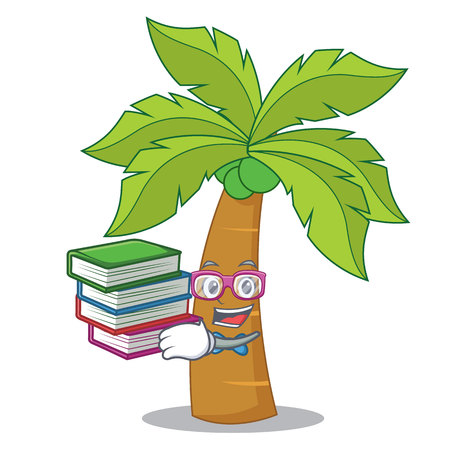 Student with book palm tree character cartoon illustration.