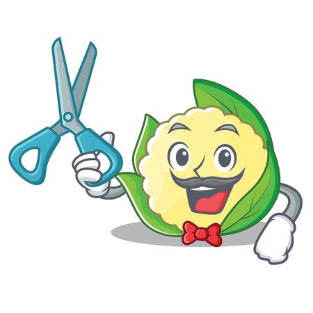 Barber cauliflower character cartoon style vector illustration