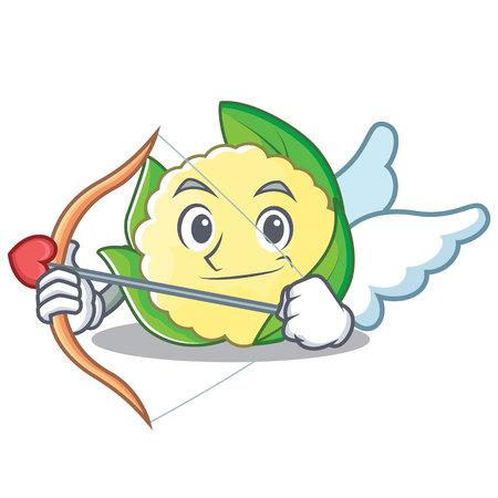 Cupid cauliflower character cartoon style vector illustration. Illustration