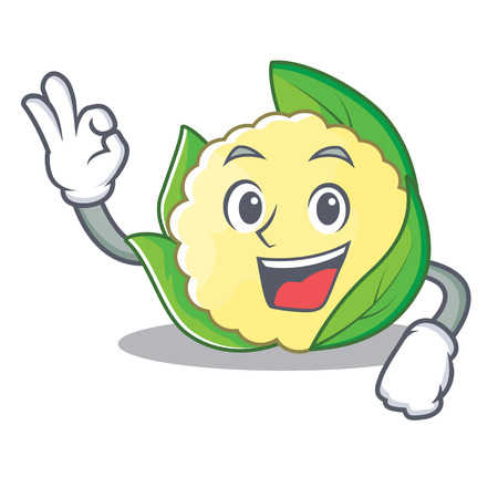Cauliflower character cartoon style  illustration gesturing OK sign.