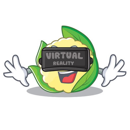 With virtual reality cauliflower character cartoon style vector illustration