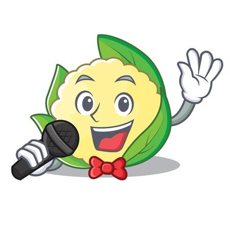 Singing cauliflower character cartoon style vector illustration Illustration