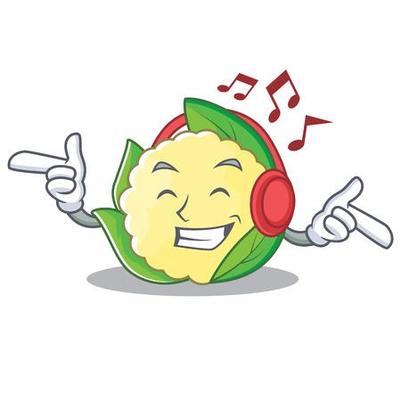 Listening music cauliflower character cartoon style vector illustration