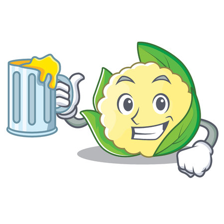 With juice cauliflower character cartoon style vector illustration