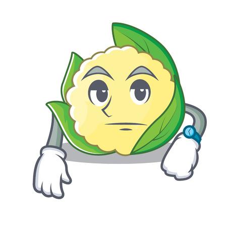 Waiting cauliflower character cartoon style vector illustration Vettoriali