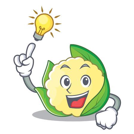 Have an idea cauliflower character cartoon style vector illustration