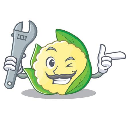 Mechanic cauliflower character cartoon style vector illustration Illustration