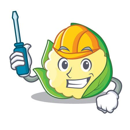 Automotive cauliflower character cartoon style vector illustration