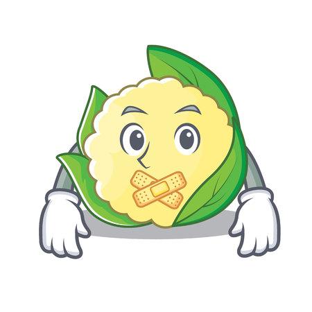Silent cauliflower character cartoon style vector illustration