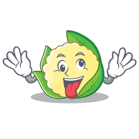 Crazy cauliflower character cartoon style vector illustration Illustration