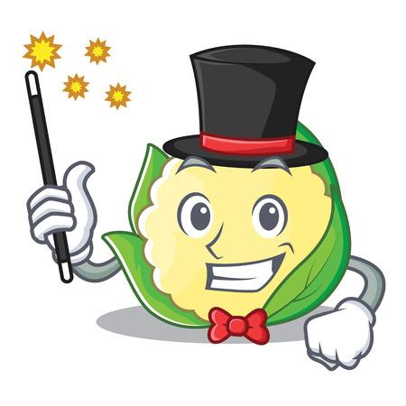 Magician cauliflower character cartoon style vector illustration