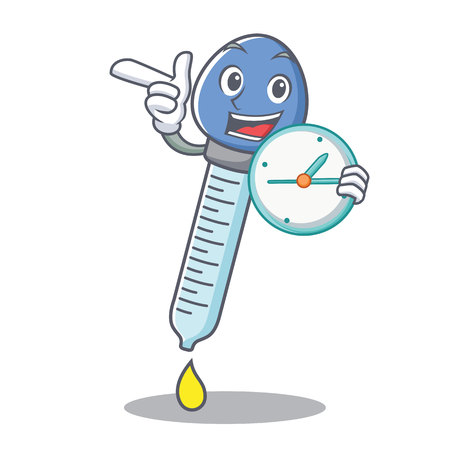 With clock dropper character cartoon style vector illustration