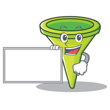 With board funnel character cartoon style vector illustration Illustration