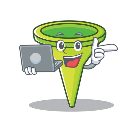 With laptop funnel character cartoon style vector illustration