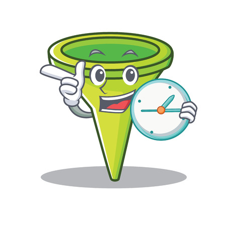 With clock funnel character cartoon style