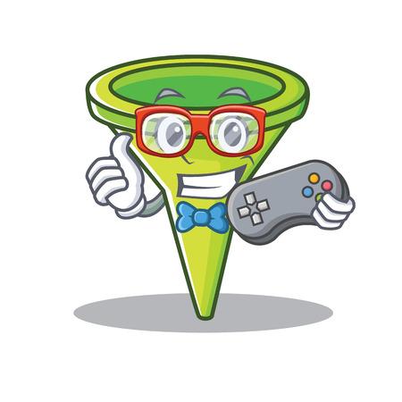 Gamer funnel character cartoon style vector illustration Illustration