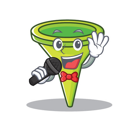 Singing funnel character cartoon style vector illustration