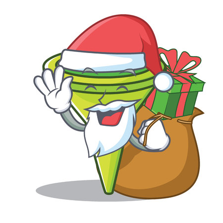Santa with gift funnel character cartoon style
