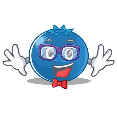 Geek blueberry character cartoon style  illustration.