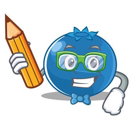 Student blueberry character cartoon style  illustration.