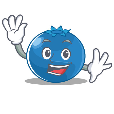 Waving blueberry character cartoon style 일러스트