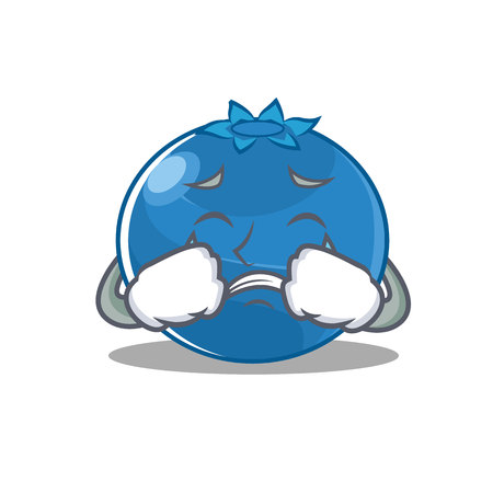 Crying blueberry character cartoon style vector illustration