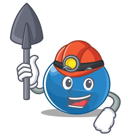 Miner blueberry character cartoon style  illustration.
