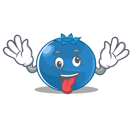Crazy blueberry character cartoon style vector illustration