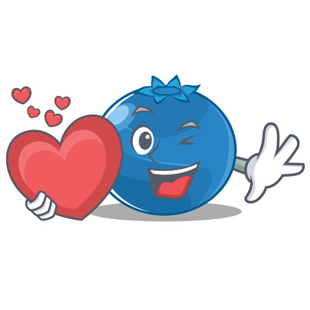 With heart blueberry character cartoon style vector illustration